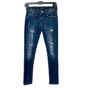 EXPRESS Mid Rise Distressed Legging Jeans